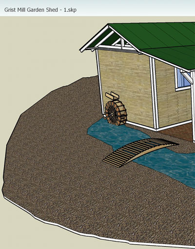 This Is A Sketchup Rendition Of Approximately What Our Water Feature Will  Look Like. The Waterwheel Will Be Raised Higher Than Shown And Will Drain  Into A ...