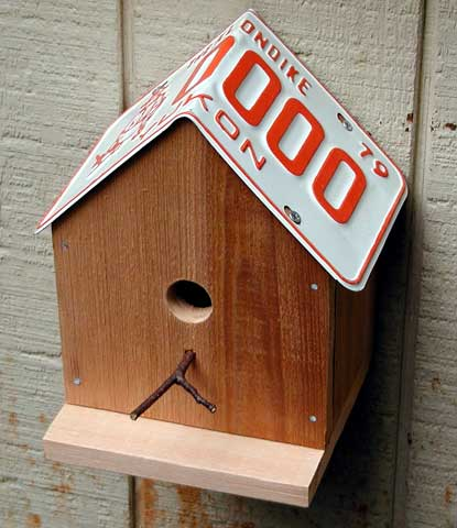bird house plans with license plate roof